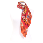 foulard rouge soie carre femme rouge chats