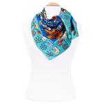 foulard en soie femme carré bleu chats