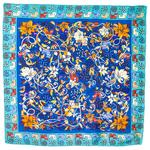foulard en soie carre de soie bleu chats