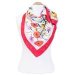 foulard en soie femme carré rouge bouquet fleurs