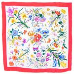 foulard en soie carre de soie rouge bouquets fleurs
