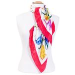 foulard rouge soie carre femme rouge bouquet fleurs