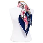 foulard en soie femme carré bleu feuilles