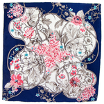 foulard en soie carre de soie bleu feuilles