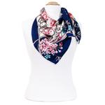foulard rouge soie carre femme bleu feuilles