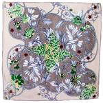 foulard en soie carre de soie beige feuilles