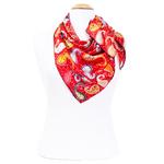 foulard en soie femme carré rouge cachemire