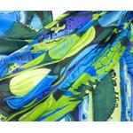 étole soie femme fleurs bleu vert inés