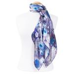 foulard carré en soie bleu pour femme roses