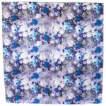 grand foulard carré bleu pour femme roses