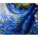 carré de soie bleu femme reproduction tableau route avec cyprés Van Gogh