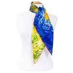 foulard carré de soie bleu route avec cyprés Van Gogh