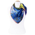 foulard femme en soie carré tableau route avec cyprés  Van Gogh