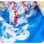 carré de soie bleu femme reproduction tableau le pêcher en fleurs Van Gogh