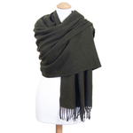 étole kaki laine pour femme fabriquée en France