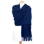étole bleu navy laine pour femme fabriquée en France