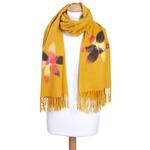 chale etole jaune fleurs pour femme eva