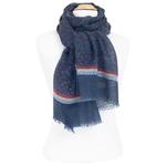 écharpe laine bleu imprimé feuilles
