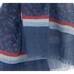 écharpe femme homme en laine bleu imprimé feuilles