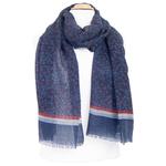 echarpe laine femme homme bleu imprimé feuilles