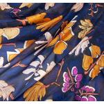 étole feuilles bleu marine soie femme