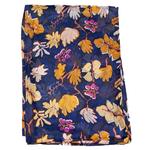 étole soie bleu marine  pour femme imprimé feuilles