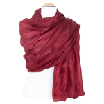 étole en soie rouge bordeaux  pour femme