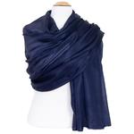 étole en soie bleu marine pour femme