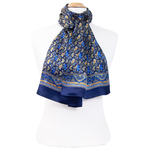 foulard bleu marine soie homme Laurent