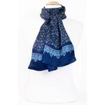 foulard bleu marine soie homme paisley frise