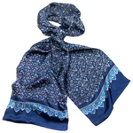 Foulard soie homme bleu marine paisley frise