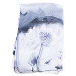 étole noir blanc mousseline de soie femme lotus
