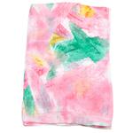 étole femme en soie imprimée rose Elona