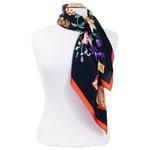 foulard  soie femme noirfleuri