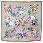 foulard carré de soie femme taupe fleuri