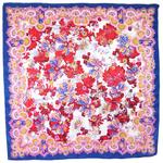 foulard carré en soie rouge fleurs