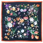 foulard carré de soie femme noir fleuri