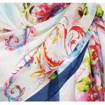 étole soie naturelle bleu fleurie Delia
