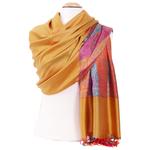 étole femme jaune pashmina motifs multicolores