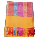 étole femme pahmina jaune motifs multicolores