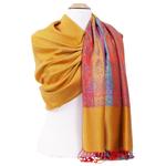 étole pashmina jaune motifs multicolores