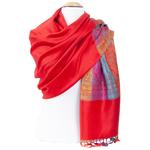 étole femme rouge clair pashmina motifs multicolores