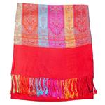 étole femme pahminarouge clair motifs multicolores
