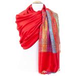 étole pashmina rouge clair motifs multicolores