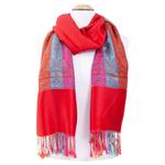 étole rouge clair pashmina motifs multicolores