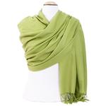 étole femme cachemire et laine vert tendre