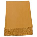 étole cachemire et laine jaune moutarde pour femme