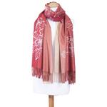 chale en laine brodé rouge beige pour femme