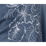 chale bleu gris en laine brodé pour femme