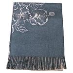 chale femme en laine brodé bleu gris